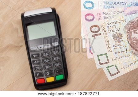 Polish Currency Money And Payment Terminal, Credit Card Machine
