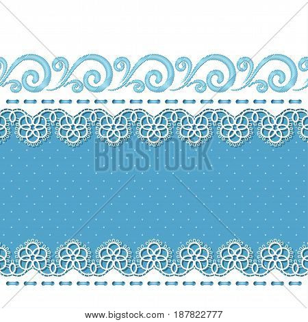 Background for greeting card or invitation with lace borders and embroidery. Vector Illustration