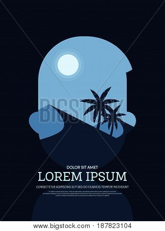 Abstract double exposure poster background of a man and retro vintage desert landscape design template can be used for printing backdrop vector illustration