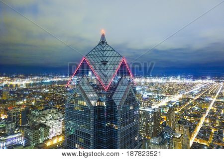 Amazing night shot of Philadelphia with Two Liberty Building - aerial view  -  2017