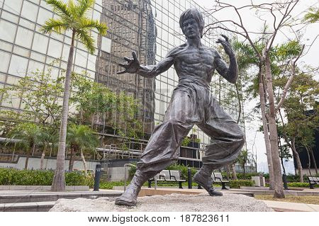 Bruce Lee Statue At The Avenue Of Stars On February, 16, 2017, Hong Kong, China.