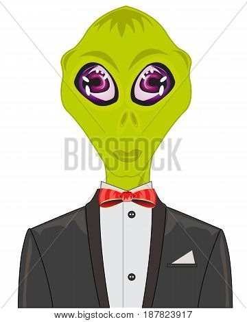Cosmos Stranger in suit with butterfly on white background is insulated
