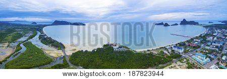 aerial panorama view of prachuap khiri khan harbor southern of thailand