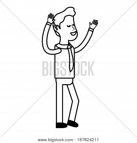 line nice man with hands up and casual wear, vector illustration