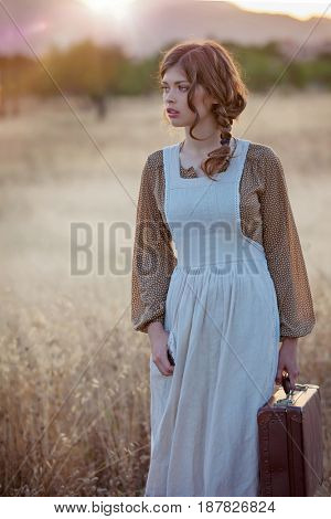 retro vintage woman servant traveling