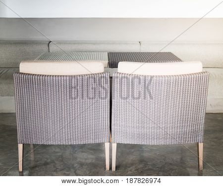 Empty Dining Rattan Furniture Set stock photo