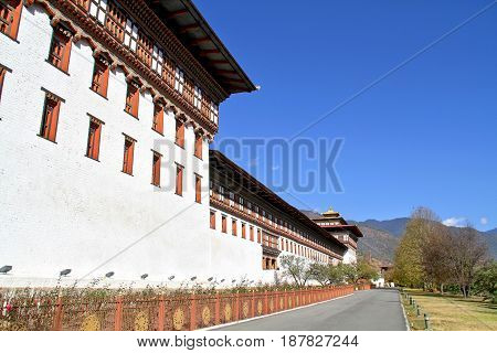 Tashicho Dzong or Thimpu Palace. Buddhist monastery and fortress on the northern edge of the city of Thimpu in Bhutan.