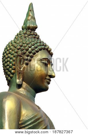 Face and head of golden green Buddha statue isolated on white background