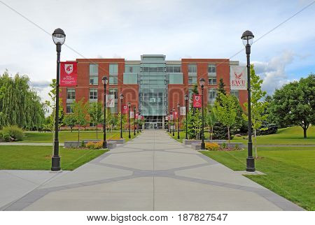 SPOKANE WASHINGTON - JUNE 2 2016: The Academic Center building on the urban campus of Washington State University Health Sciences Spokane which offers many degrees in health sciences up to the PhD.