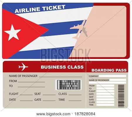 Business Class Flight departing flights to Cuba. Ticket included with the envelope and the authentic character of the country.