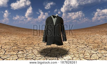 Suit in surreal waste land.  3D rendering