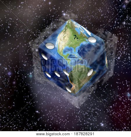 Planet Earth in dice shape.  3D rendering    Some elements courtesy of NASA