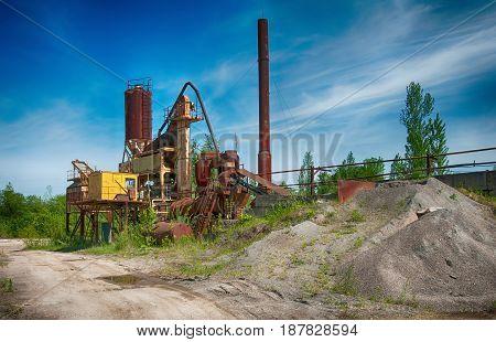 old asphalt mixing plant. A close up