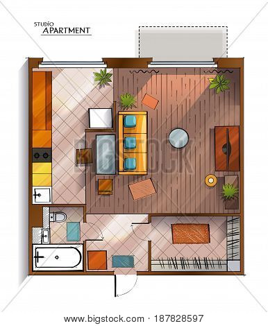 Vector top view architectural floor plan of modern and comfortable studio apartment which combines living room, bedroom and kitchenette with furniture.