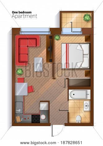 Vector top view illustration of one bedroom apartment with furniture. Modern detailed architectural plan of bedroom, bathroom and kitchen combined with dining room.