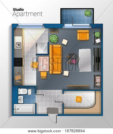 Vector top view illustration of modern and comfortable studio apartment with furniture. Detailed architectural color plan.