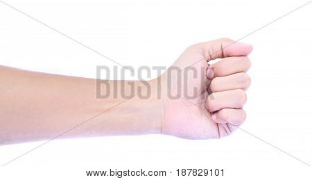Fist clenched hands on a white background.