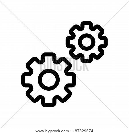 Gear vector icon. Black and white two gears illustration. Outline linear icon. eps 10