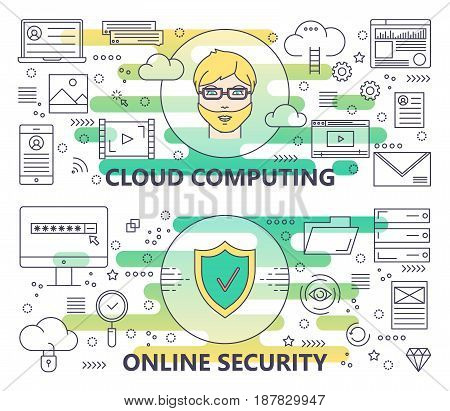 Vector set of Cloud computing and Online security concept banners. Modern thin line flat design elements, icons for web, marketing and graphic design.