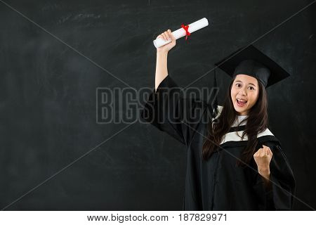 Gesture Asian Woman Holding Graduation Scroll