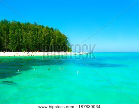 The blurred image of Bamboo Island. It is one other island in the Andaman Sea near phi-phi islands, Thailand