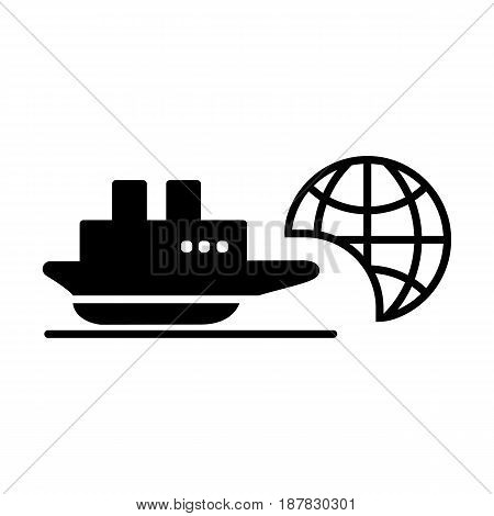 Ship icon. Cruise, tour, delivery concept, Marine boat. Transportation sign Isolated on white background. eps 10