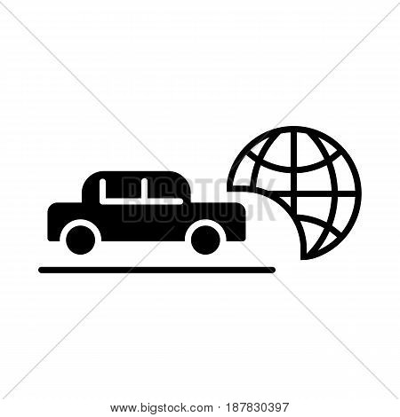 Travel by car vector icon. Black and white transport illustration. Solid linear icon. eps 10