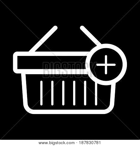 Shopping basket vector icon. Black and white Add product to cart illustration. Outline linear icon. eps 10