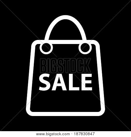 Shopping sale vector icon. Black and white bag icon for advertising discounts illustration. Outline linear shopping icon. eps 10
