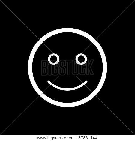 Happy smiley vector icon. Black and white smile illustration. Outline linear emotion icon. eps 10