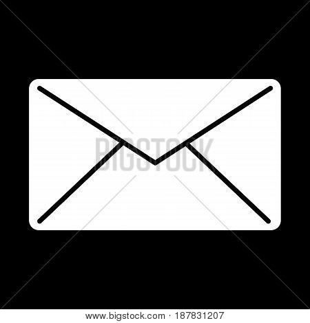Email vector icon. Black and white mail illustration. Solid linear message icon. eps 10