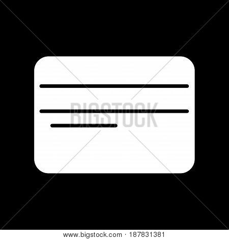Credit card vector icon. Black and white card illustration. Solid linear icon. eps 10
