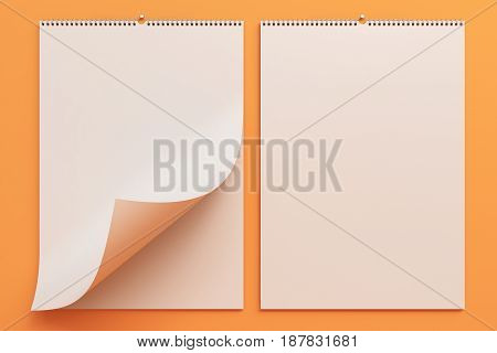 White Wall Calendar Mock-up On Orange Background