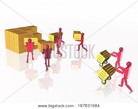 Red robots with yellow casegoods on white reflective background 3D illustration.