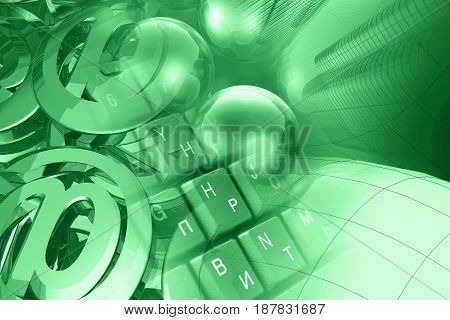 Computer background in greens - mail signs balls keyboard and buildings.