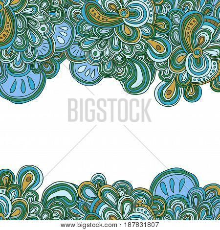 Blue and yellow doodle pattern, vector illustration