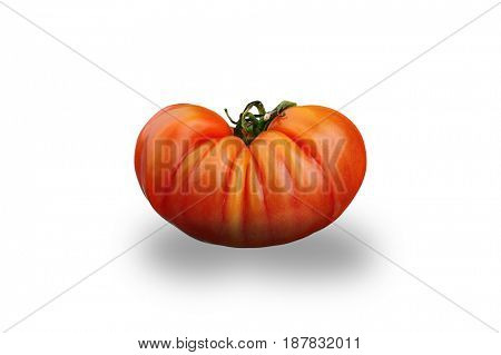 Extreme close-up image of German Heirloom tomato, studio isolated on white background