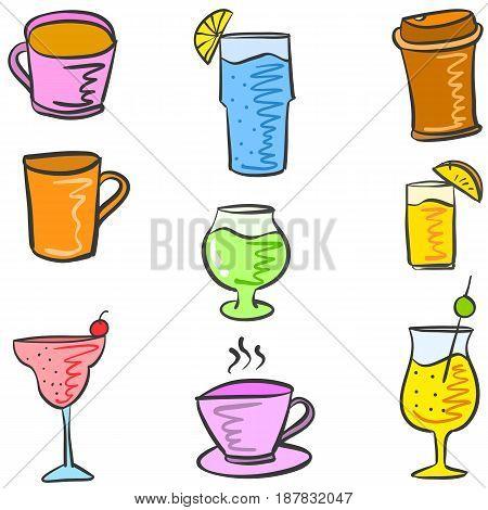 Various style drink set doodles vector illustration