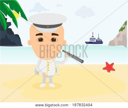 Young traveler in the captain's suit exploring the countryside the beach nature and the environment next to the ocean. Modern vector illustration isolated.