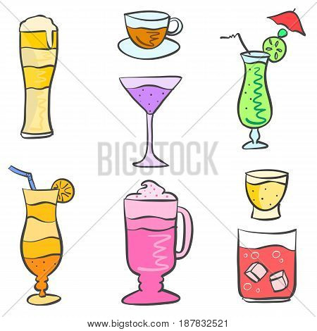 Collection stock drink style doodle set vector illustration