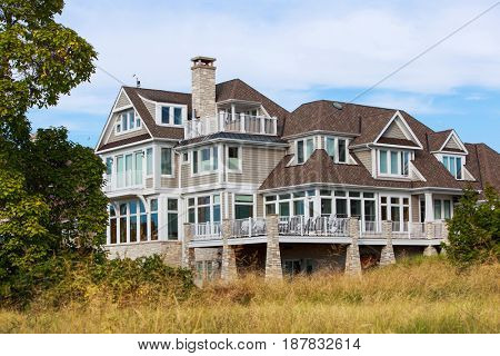 Beach house in the dune grass