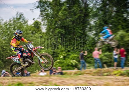 Extreme Enduro Moto Sport Rider In The Action