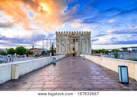 Cordoba Spain. Roman Bridge on Guadalquivir river Calahorra Tower at twilight in the city of Cordoba Andalusia.