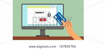 Hand with Credit Card During Online Payment Process Concept