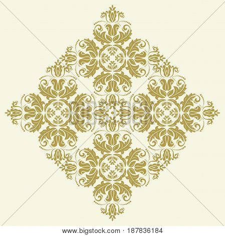 Elegant vector ornament in classic style. Abstract traditional pattern with oriental elements. Classic square golden vintage pattern
