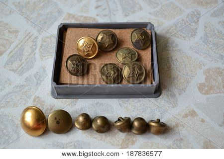 Rare old buttons with metal Soviet star