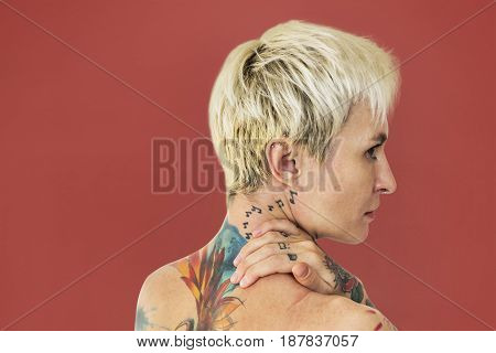 Caucasian Tattooed Woman Side View