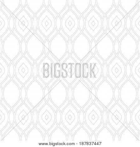 Seamless vector ornament. Modern background with light silver wavy lines. Geometric modern pattern