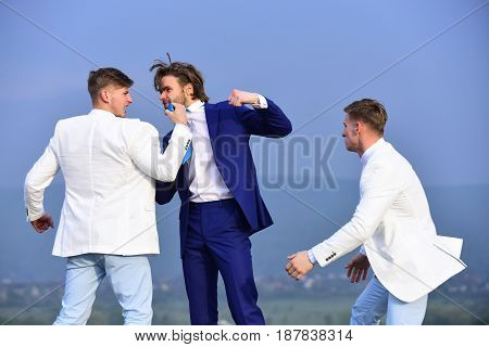 Businessman Punching, Hitting Colleague, Twin Men In Formal Outfit