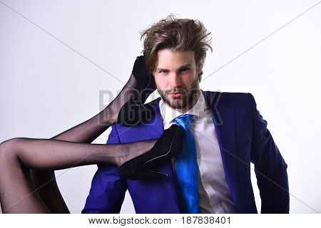 Fashion And Business, Man With Female Legs, Luxury And Patriarchy